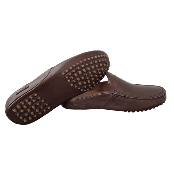Ebsem Men's All Leather Slippers (Brown)