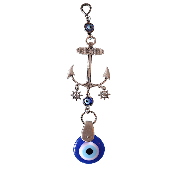 Ebsem Handmade Evil Eye Glass Charm Silver Plated Anchor - 9.5' Decorative