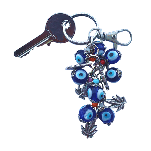 Bunch of Good Luck Evil Eye Beads Keychain (Dark Blue Hemp)