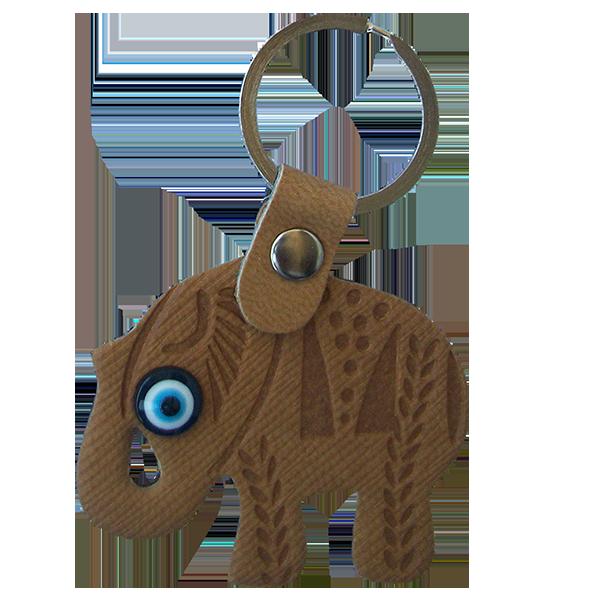 Elephant Evil Eye Keychain (Mustard)