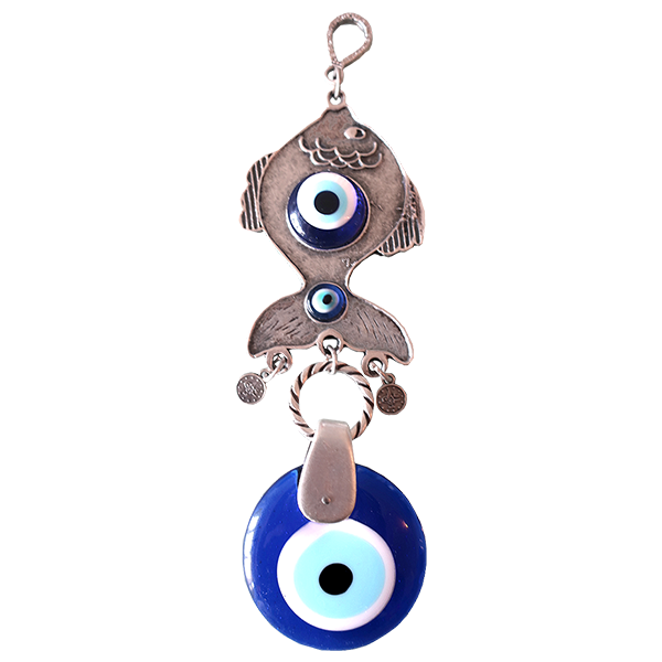 Ebsem Handmade Evil Eye Glass Charm Silver Plated Fish - 8'' Decorative